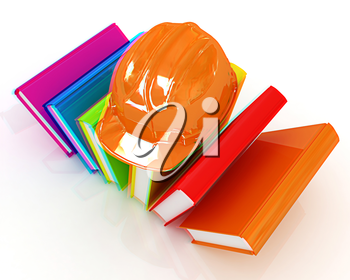 Colorful books and hard hat on a white background. 3D illustration. Anaglyph. View with red/cyan glasses to see in 3D.