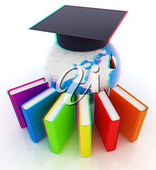 Global Education on a white background. 3D illustration. Anaglyph. View with red/cyan glasses to see in 3D.