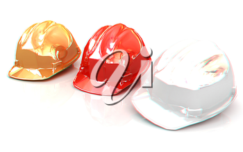 Hard hat on a white background. 3D illustration. Anaglyph. View with red/cyan glasses to see in 3D.