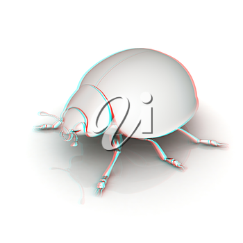 Metall beetle on a white background. 3D illustration. Anaglyph. View with red/cyan glasses to see in 3D.