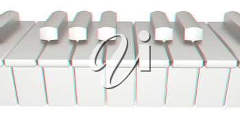 Piano isolated on white background . 3D illustration. Anaglyph. View with red/cyan glasses to see in 3D.