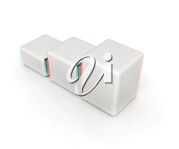 Blocks on a white background. 3D illustration. Anaglyph. View with red/cyan glasses to see in 3D.