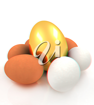 Eggs and gold easter egg. 3D illustration. Anaglyph. View with red/cyan glasses to see in 3D.