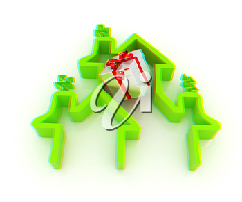 House icon and gifts. 3D illustration. Anaglyph. View with red/cyan glasses to see in 3D.