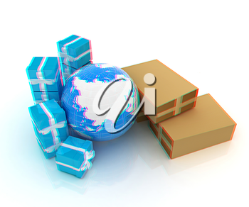 Cardboard boxes, gifts and earth on a white background. 3D illustration. Anaglyph. View with red/cyan glasses to see in 3D.