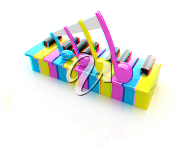 Colorfull piano keys on a white background . 3D illustration. Anaglyph. View with red/cyan glasses to see in 3D.