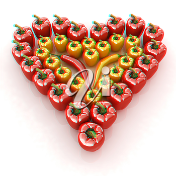 Bulgarian Pepper Heart Shape, On White Background. 3D illustration. Anaglyph. View with red/cyan glasses to see in 3D.