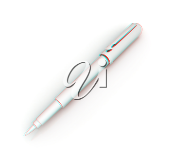 Metall corporate pen design . 3D illustration. Anaglyph. View with red/cyan glasses to see in 3D.