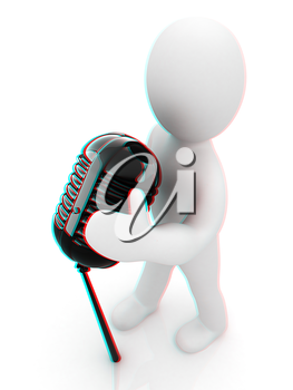 3D man with a microphone on a white background . 3D illustration. Anaglyph. View with red/cyan glasses to see in 3D.
