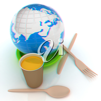 Orange juice in a fast food dishes and earth. 3D illustration. Anaglyph. View with red/cyan glasses to see in 3D.