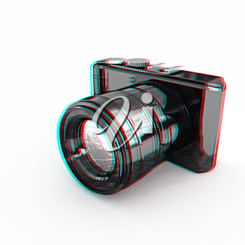 3d illustration of photographic camera on white background. 3D illustration. Anaglyph. View with red/cyan glasses to see in 3D.