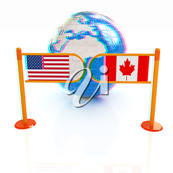 Three-dimensional image of the turnstile and flags of USA and Canada on a white background . 3D illustration. Anaglyph. View with red/cyan glasses to see in 3D.