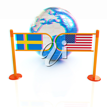 Three-dimensional image of the turnstile and flags of USA and Sweden on a white background . 3D illustration. Anaglyph. View with red/cyan glasses to see in 3D.