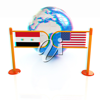 Three-dimensional image of the turnstile and flags of USA and Syria on a white background . 3D illustration. Anaglyph. View with red/cyan glasses to see in 3D.