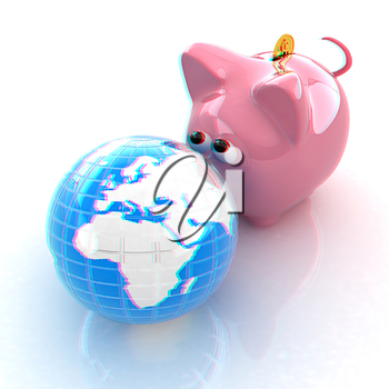 global saving . 3D illustration. Anaglyph. View with red/cyan glasses to see in 3D.