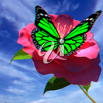 Beautiful Flower and butterfly against the sky . 3D illustration. Anaglyph. View with red/cyan glasses to see in 3D.