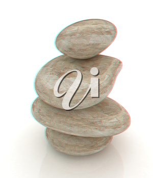 Spa stones isolated on white. 3D illustration. Anaglyph. View with red/cyan glasses to see in 3D.