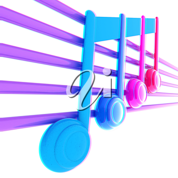 3D music note on staves. 3D illustration. Anaglyph. View with red/cyan glasses to see in 3D.