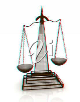 scales of justice. 3D illustration. Anaglyph. View with red/cyan glasses to see in 3D.