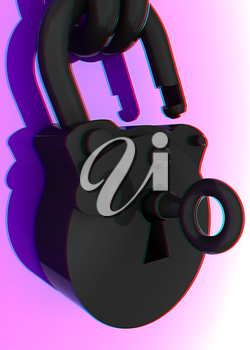 Vintage old padlock unlocked. 3D illustration. Anaglyph. View with red/cyan glasses to see in 3D.
