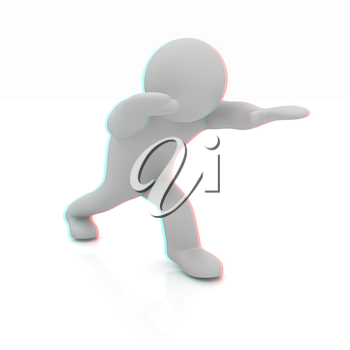 3d man isolated on white. Series: morning exercises - flexibility exercises and stretching. 3D illustration. Anaglyph. View with red/cyan glasses to see in 3D.