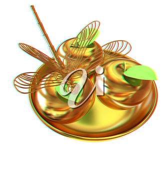 Dragonfly on gold apples. 3D illustration. Anaglyph. View with red/cyan glasses to see in 3D.