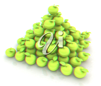 Piramid of apples on a white. 3D illustration. Anaglyph. View with red/cyan glasses to see in 3D.