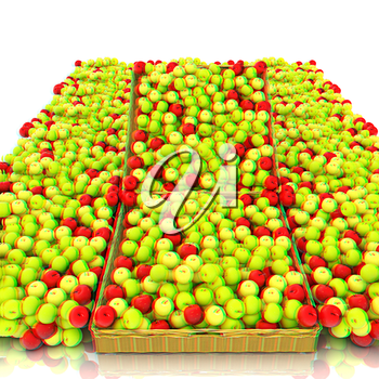 Wicker basket full of apples isolated on white. 3D illustration. Anaglyph. View with red/cyan glasses to see in 3D.