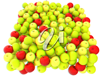 apples isolated on white. 3D illustration. Anaglyph. View with red/cyan glasses to see in 3D.