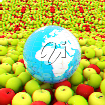 apples background and Earth. Global concept Thanksgiving Day. 3D illustration. Anaglyph. View with red/cyan glasses to see in 3D.