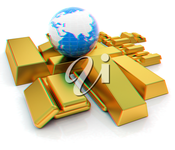 Earth and gold bars. 3D illustration. Anaglyph. View with red/cyan glasses to see in 3D.