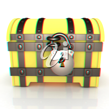 The chest. 3D illustration. Anaglyph. View with red/cyan glasses to see in 3D.