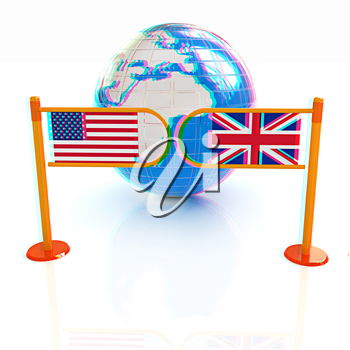 Three-dimensional image of the turnstile and flags of USA and UK on a white background . 3D illustration. Anaglyph. View with red/cyan glasses to see in 3D.