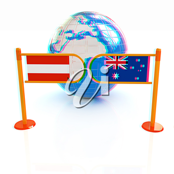 Three-dimensional image of the turnstile and flags of Australia and Austria on a white background . 3D illustration. Anaglyph. View with red/cyan glasses to see in 3D.
