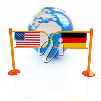 Three-dimensional image of the turnstile and flags of USA and Germany on a white background . 3D illustration. Anaglyph. View with red/cyan glasses to see in 3D.
