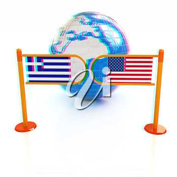 Three-dimensional image of the turnstile and flags of USA and Greece on a white background . 3D illustration. Anaglyph. View with red/cyan glasses to see in 3D.