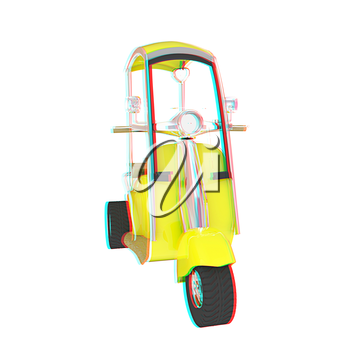 scooter. 3D illustration. Anaglyph. View with red/cyan glasses to see in 3D.
