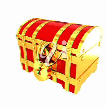 cartoon chest. 3D illustration. Anaglyph. View with red/cyan glasses to see in 3D.