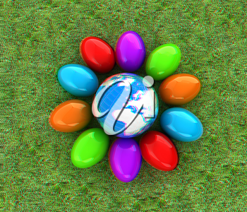Colored Easter eggs around Earth on a green grass. 3D illustration. Anaglyph. View with red/cyan glasses to see in 3D.