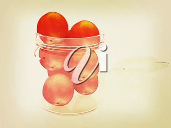 Jar with peaches on white background . 3D illustration. Vintage style.