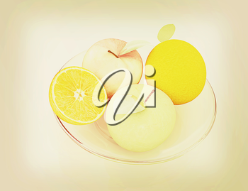 Citrus and apple on a white background. 3D illustration. Vintage style.