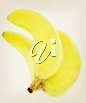 bananas on a white background. 3D illustration. Vintage style.