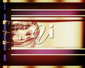 Abstract business background with sphere from dollar . 3D illustration. Vintage style.