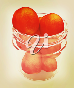 fresh peaches on a white background. 3D illustration. Vintage style.