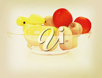 Citrus on a plate on a white background. 3D illustration. Vintage style.