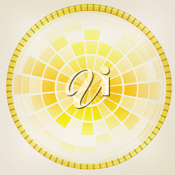 Yellow 3d globe icon with highlights on a white background. 3D illustration. Vintage style.