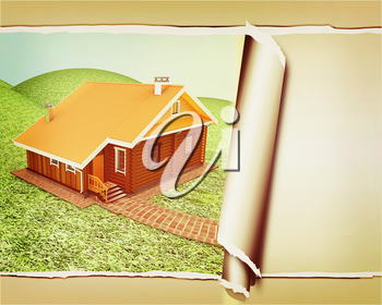 background of wooden travel house or a hotel, with torn paper . 3D illustration. Vintage style.