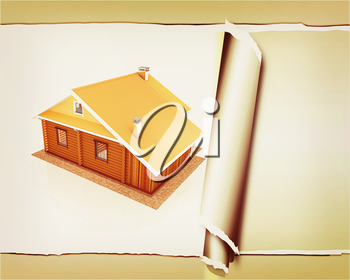 background from wooden travel house or a hotel with torn paper . 3D illustration. Vintage style.