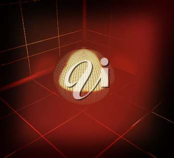 Dark corner in the room with gold ball . 3D illustration. Vintage style.