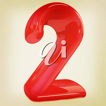 Number 2- two on white background. . 3D illustration. Vintage style.